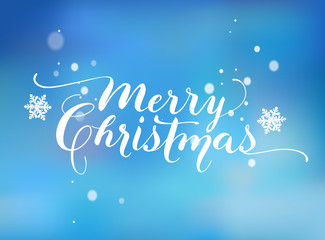 Flourish Lettering based on a Nib Calligraphy. Blue background with snowflakes. Merry Christmas. Vector.