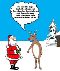 Color illustration of the red nosed reindeer coming up with an excuse for wrecking the sleigh on a joyride.