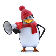 3d Winter penguin using a megaphone