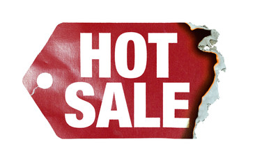 "Burning label with text ""hot sale"""