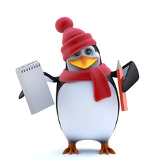 3d WInter penguin has a notepad and pencil