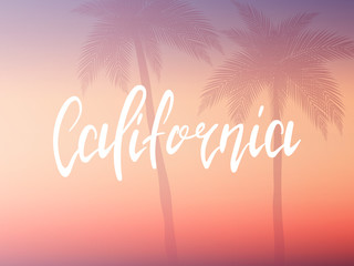 California poster. Hand drawn lettering california