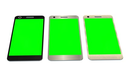 Modern smartphone in three color. green screen for mockup