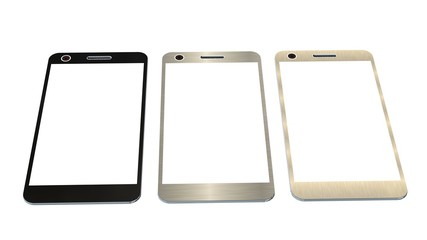 Modern smartphone in three color. White screen for mockup, isolated