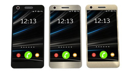 Modern smartphone in three color  isolated on white