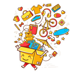 Vector colorful illustration of yellow smile character shopping