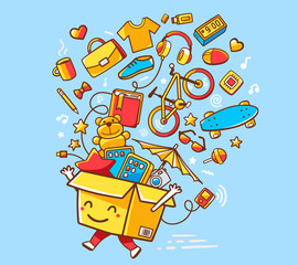 Vector illustration of colorful joy character shopping box with