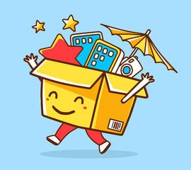 Vector colorful illustration of yellow joy character shopping bo