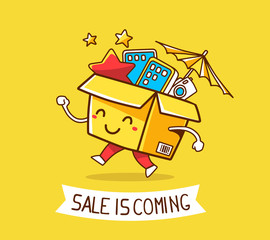Vector illustration of colorful cheerful character shopping box
