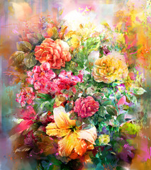 Bouquet of multicolored flowers watercolor painting style