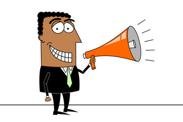 Black businessman, megaphone