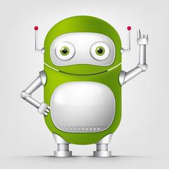 Tuinposter Robots Cartoon Character green robot