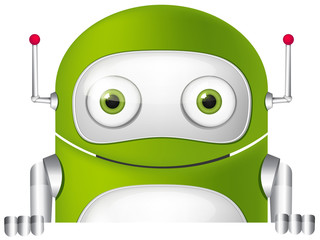 Aluminium Prints Robots Cartoon Character green robot