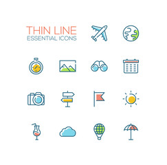 Travel Symbols - thick line design icons set