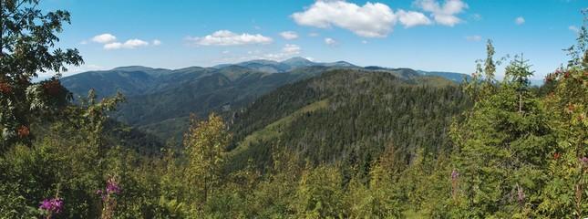 west panorama view from Havrania Polana in Nizke Tatry mountains in Slovakia
