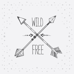 Vector illustration with hand drawn tribal arrows and text on white background - Wild and Free
