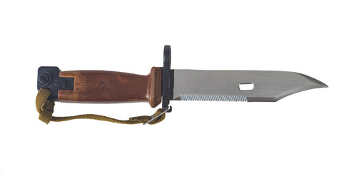 AK 47 bayonet with saw isolated on white