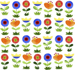 Cartoon flowers. Watercolor seamless pattern.