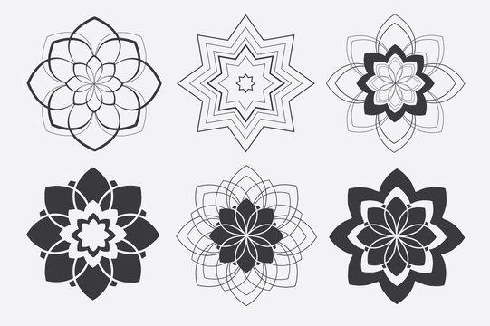 Hand Drawn Vector set of mandala on white background