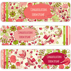 Set Floral card  design, flowers, leaf , herbs  doodle elements. Vector decorative invitation. childish style. elements are not cropped and hidden under mask.