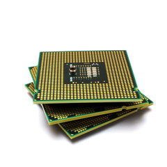 Central processing unit - CPU microchip isolated on white background.