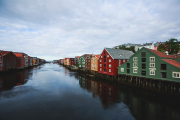 A different colored houses in Trondheim, Norway