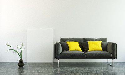 3D interior scene of black sofa and blank wall