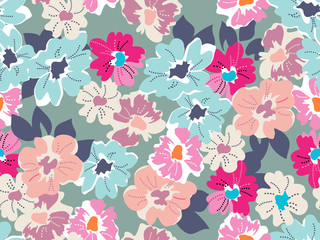 Cute modern floral print - seamless background