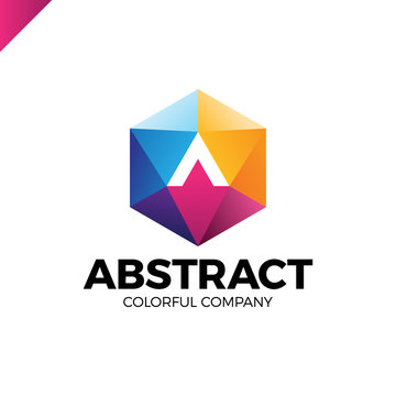 Letter A in a nut hex shape frame tech industry logo template. Abstract media triangle hexagon logotype with arrow up in middle