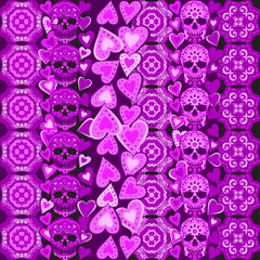 Seamless Gothic Pattern With Color Hand Drawn Skulls  , Boho strips , tribal, texture, Doodle style