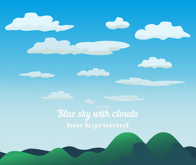 Green hills blue sky concept. Cloudscape with fluffy clouds background. Cloudy daylight empty  green mountain grass landscape in sunny weather. Bright natural colors. Cartoon Vector illustration