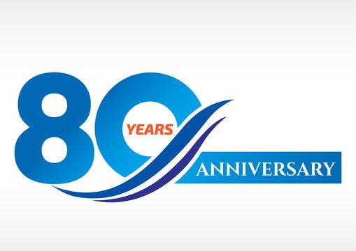 80 years anniversary Template logo
