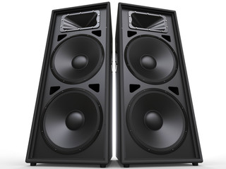 Two big black speakers - low angle shot