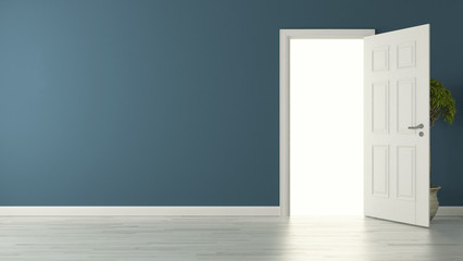 opened american door with blue wall and reflective floor