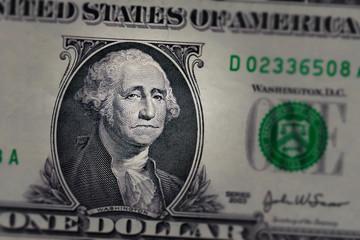Sad Washington on US One Dollar Bill