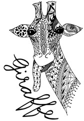 zentangle giraffe, mehndi design, hand drawn, vector