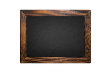 Wood frame blackboard isolated on white