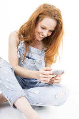 woman happy about texting sms smartphone