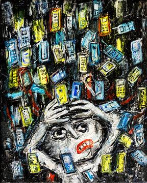 Cell phone mobile phone consumerism problem.