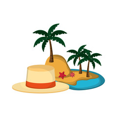 flat design tropical island and hat  icon vector illustration
