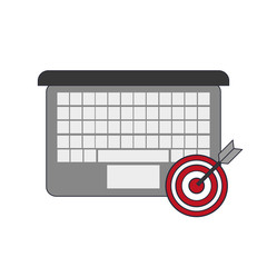 flat design computer and bullseye  icon vector illustration
