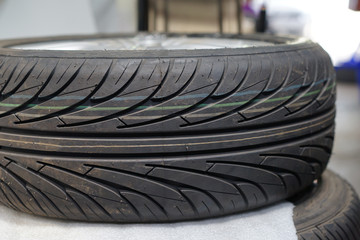 Car tire, Selective focus