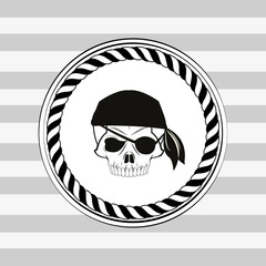 pirate skull emblem image vector illustration design