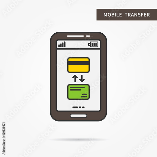 Linear mobile wallet app  Flat web purse  Mobile wallet