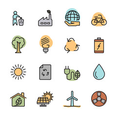 color flat ecology energy icon set, vector eps10