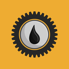flat design drop of petroleum oil and gear emblem image vector illustration