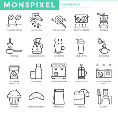 Flat thin line Icons set of Coffee Shop. Pixel Perfect Icons. Simple mono linear pictogram pack stroke vector logo concept for web graphics.