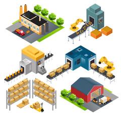 Isometric industrial factory buildings
