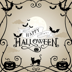 Halloween frame on gray sky background