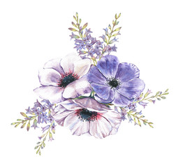 Hand-drawn watercolor illustration of the floral bouquet. Tender spring drawing of violet and white anemones flowers and hyacinth in the composition